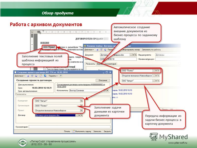 Обзор продукта Работа с архивом документов «ПитерСофт: Управление процессами» (812) 333 - 08 - 60 www.piter-soft.ru