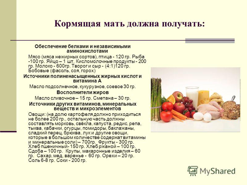 Кормящая мать должна получать: Обеспечение белками и независимыми аминокислотами Мясо (мяса нежирных сортов), птица - 120 гр. Рыба -100 гр. Яйцо – 1 шт. Кисломолочные продукты - 200 гр. Молоко - 600гр. Творог и сыр - (4:1)120 гр. Бобовые (фасоль, соя
