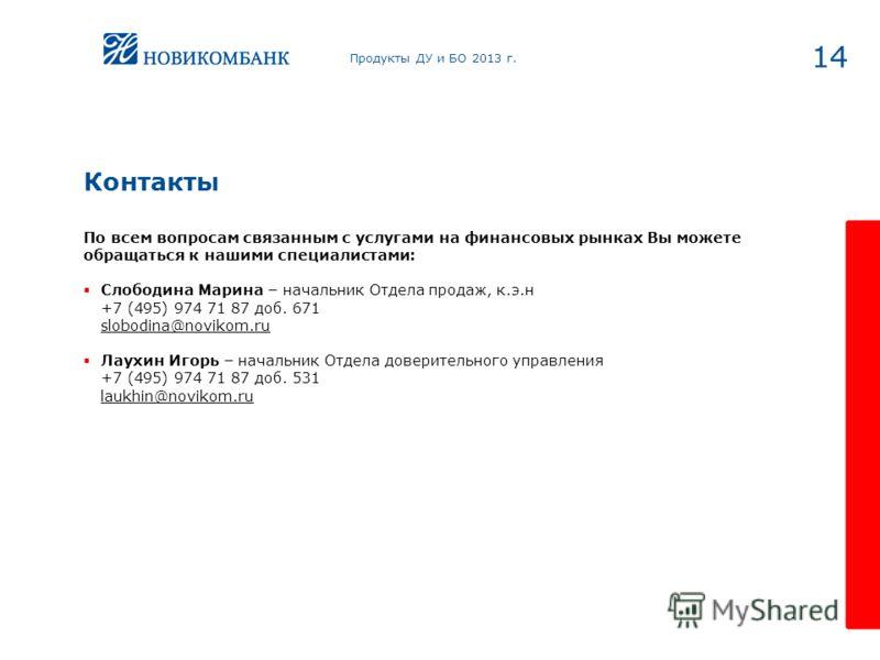 14 Контакты Продукты ДУ и БО 2013 г. По всем вопросам связанным с услугами на финансовых рынках Вы можете обращаться к нашими специалистами: Слободина Марина – начальник Отдела продаж, к.э.н +7 (495) 974 71 87 доб. 671 slobodina@novikom.ru Лаухин Иго