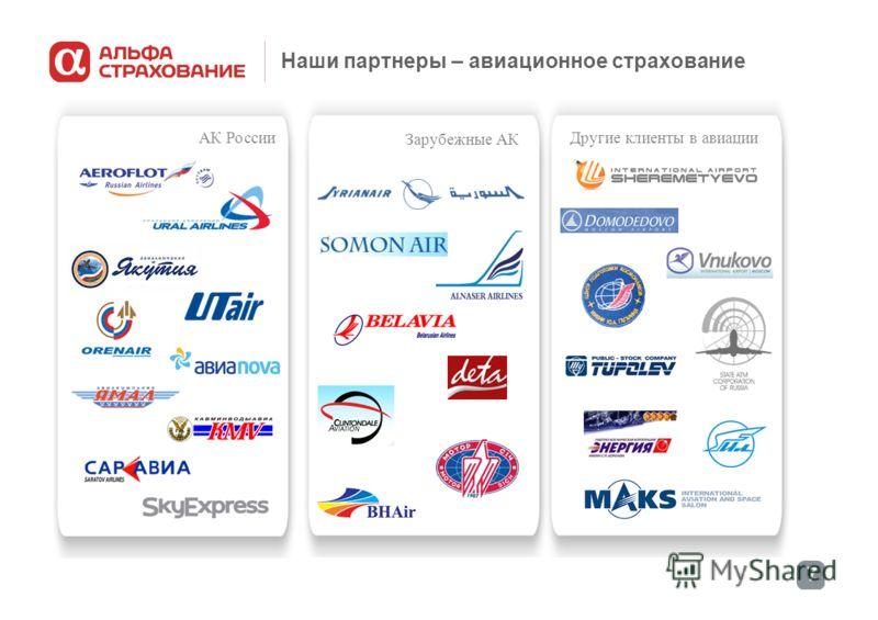 7 Наши партнеры – авиационное страхование Зарубежные АК Другие клиенты в авиации АК России