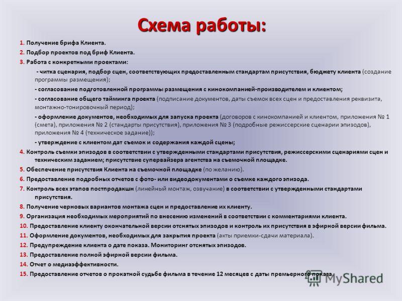 1. Получение брифа Клиента. 2. Подбор проектов под бриф Клиента. 3. Работа с конкретными проектами: - читка сценария, подбор сцен, соответствующих предоставленным стандартам присутствия, бюджету клиента (создание программы размещения); - согласование