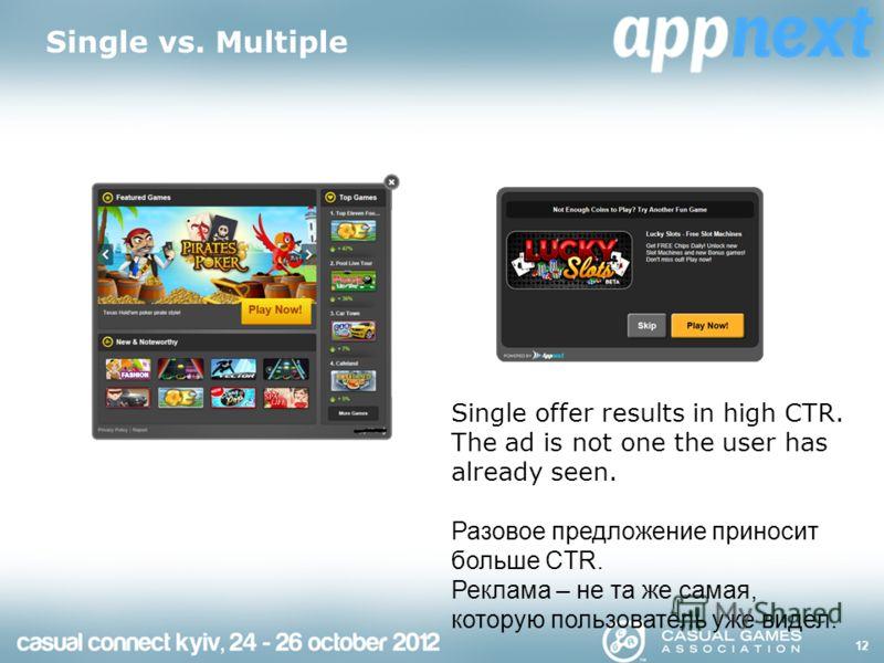 Single vs. Multiple 12 Single offer results in high CTR. The ad is not one the user has already seen. Разовое предложение приносит больше CTR. Реклама – не та же самая, которую пользователь уже видел.