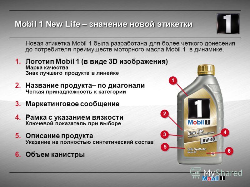Новая этикетка Mobil 1 была разработана для более четкого донесения до потребителя преимуществ моторного масла Mobil 1 в динамике. 1.Логотип Mobil 1 (в виде 3D изображения) Марка качества Знак лучшего продукта в линейке 2.Название продукта– по диагон