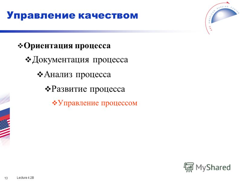 Lecture 4.2B 13 Ориентация процесса Документация процесса Анализ процесса Развитие процесса Управление процессом Управление качеством