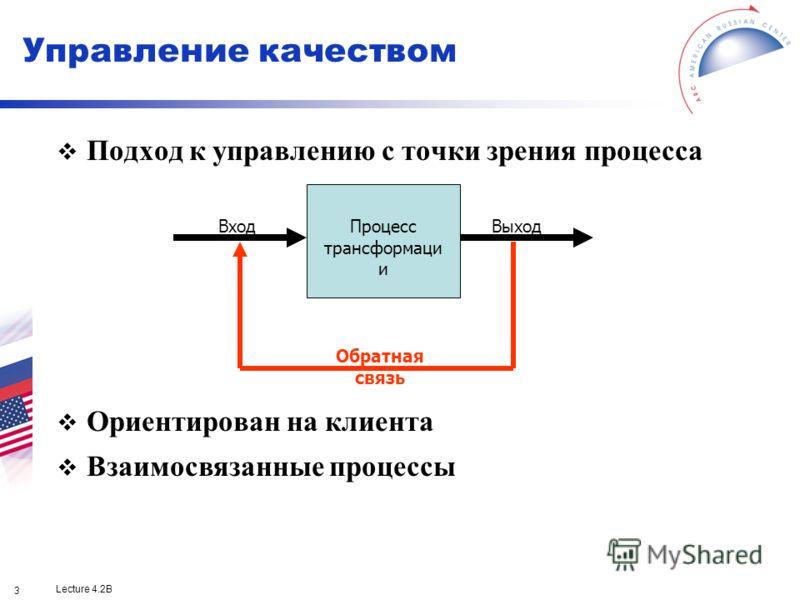 Lecture 4.2B 3 Подход к управлению с точки зрения процесса Ориентирован на клиента Взаимосвязанные процессы ВходВыходПроцесс трансформаци и Обратная связь Управление качеством