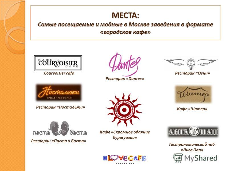 МЕСТА: Самые посещаемые и модные в Москве заведения в формате «городское кафе» Courvoisier cafeРесторан «Огни» Ресторан «Dantes» Гастрономический паб «Лига Пап» Кафе «Скромное обаяние буржуазии» Кафе «Шатер» Ресторан «Ностальжи» Ресторан «Паста и Бас