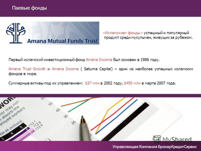 Немного о паевых фондах Первый исламский инвестиционный фонд Amana Income был основан в 1986 году. Amana Trust Growth и Amana Income ( Saturna Capital) – один из наиболее успешных исламских фондов в мире. Суммарные активы под их управлением: $37 млн