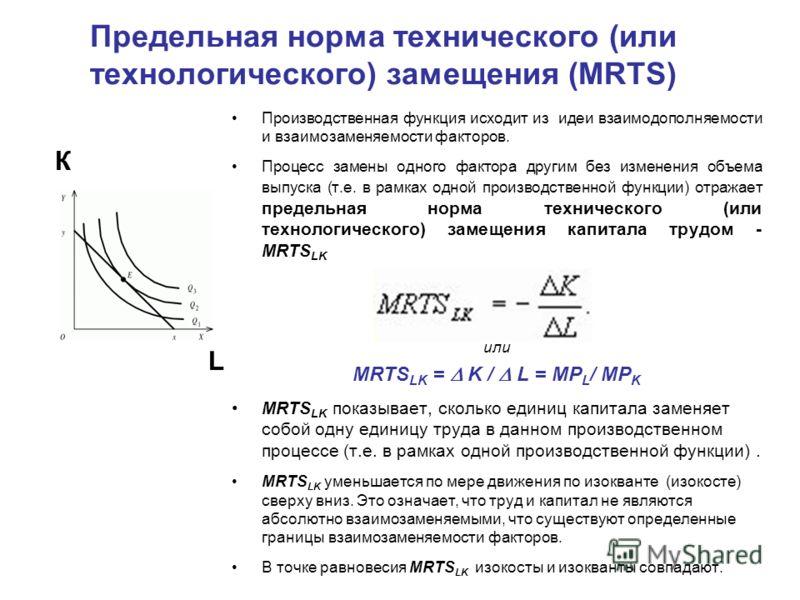 Предельная норма технического (или технологического) замещения (MRTS) Производственная функция исходит из идеи взаимодополняемости и взаимозаменяемости факторов. Процесс замены одного фактора другим без изменения объема выпуска (т.е. в рамках одной п