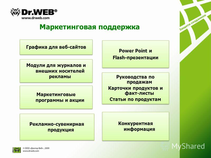 Маркетинговая поддержка Графика для веб-сайтов Модули для журналов и внешних носителей рекламы Рекламно-сувенирная продукция Power Point и Flash-презентации Power Point и Flash-презентации Руководства по продажам Карточки продуктов и факт-листы Стать