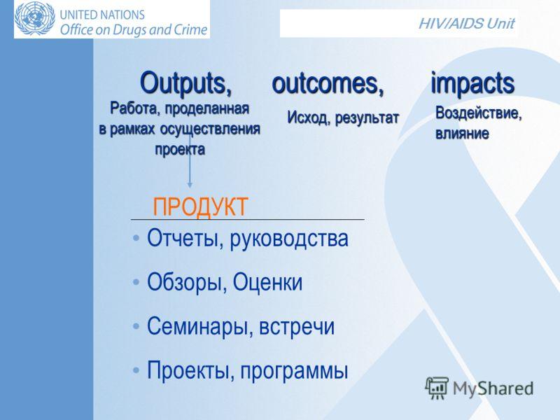 HIV/AIDS Unit Outputs, outcomes, impacts ПРОДУКТ Отчеты, руководства Обзоры, Оценки Семинары, встречи Проекты, программы Работа, проделанная в рамках осуществления в рамках осуществленияпроекта Исход, результат Воздействие, влияние