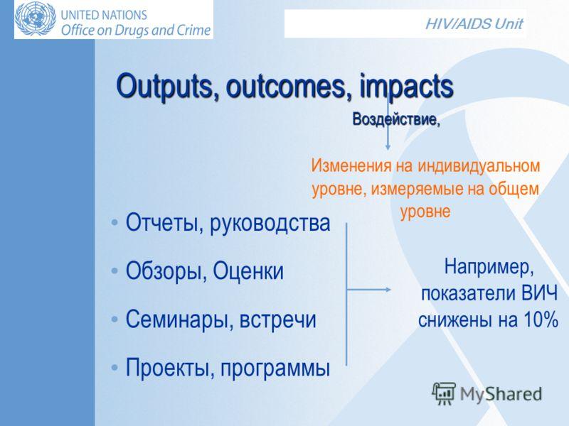 HIV/AIDS Unit Outputs, outcomes, impacts Изменения на индивидуальном уровне, измеряемые на общем уровне Обзоры, Оценки Отчеты, руководства Семинары, встречи Проекты, программы Например, показатели ВИЧ снижены на 10% Воздействие,