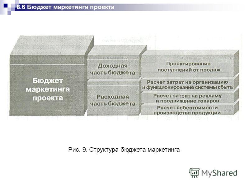8.6 Бюджет маркетинга проекта Рис. 9. Структура бюджета маркетинга