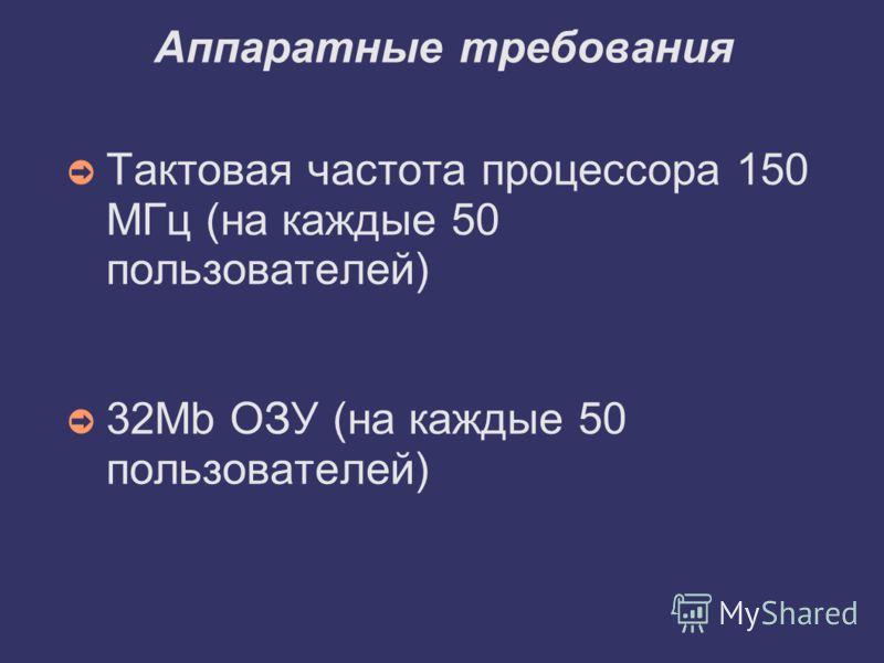 Аппаратные требования Тактовая частота процессора 150 МГц (на каждые 50 пользователей) 32Mb ОЗУ (на каждые 50 пользователей)