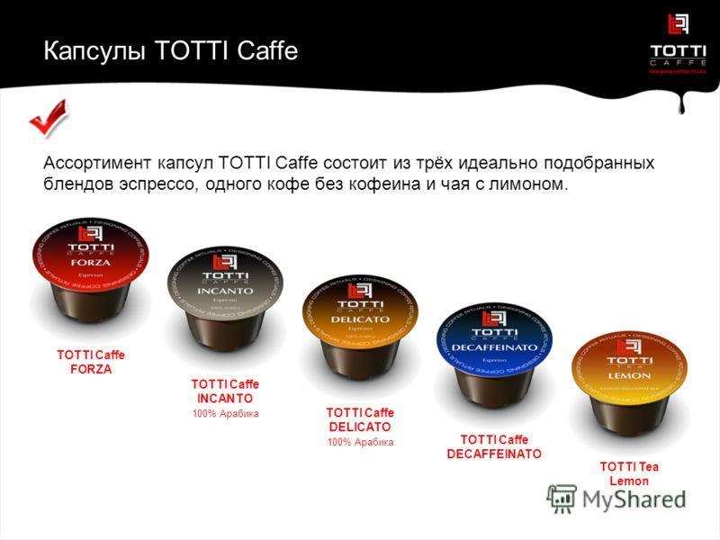 Капсулы TOTTI Caffe Ассортимент капсул TOTTI Caffe состоит из трёх идеально подобранных блендов эспрессо, одного кофе без кофеина и чая с лимоном. TOTTI TEA LIMONE TOTTI Caffe DELICATO 100% Арабика TOTTI Caffe FORZA TOTTI Caffe INCANTO 100% Арабика T