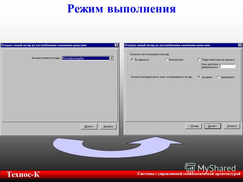 Технос-К Системы с управляемой технологической архитектурой Режим выполнения