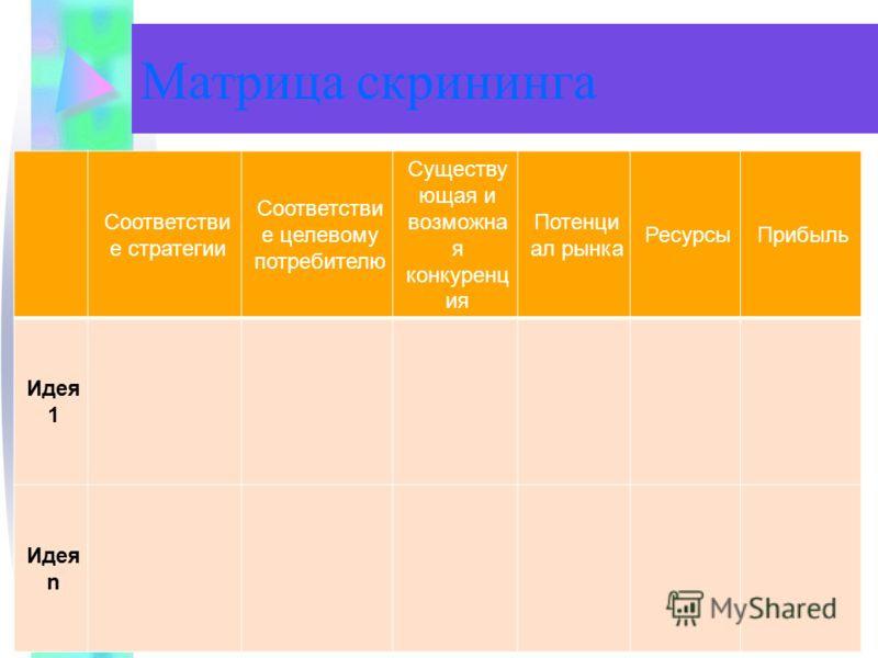 Матрица скрининга Соответстви е стратегии Соответстви е целевому потребителю Существу ющая и возможна я конкуренц ия Потенци ал рынка РесурсыПрибыль Идея 1 Идея n