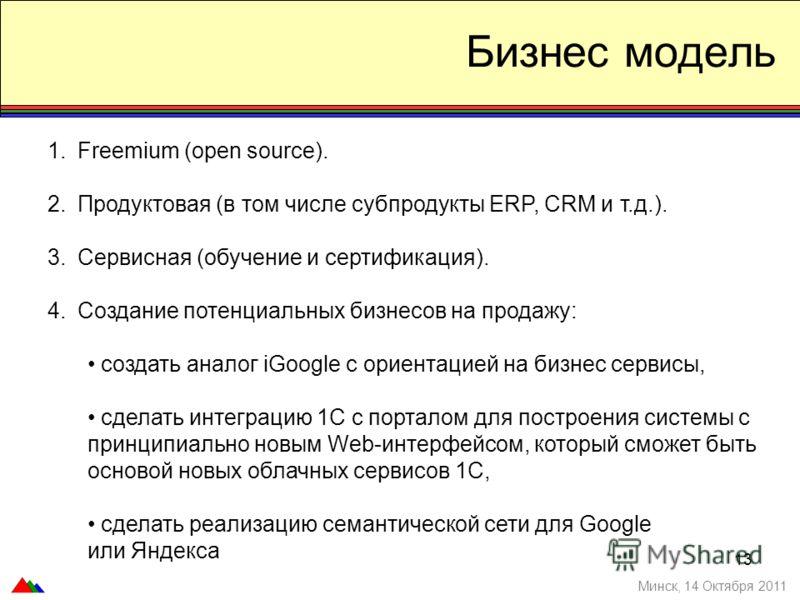 1.Freemium (open source). 2.Продуктовая (в том числе субпродукты ERP, CRM и т.д.). 3.Сервисная (обучение и сертификация). 4.Создание потенциальных бизнесов на продажу: создать аналог iGoogle с ориентацией на бизнес сервисы, сделать интеграцию 1C с по