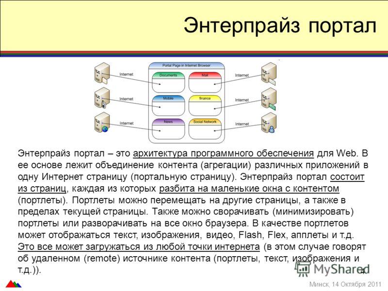 Энтерпрайз портал – это архитектура программного обеспечения для Web. В ее основе лежит объединение контента (агрегации) различных приложений в одну Интернет страницу (портальную страницу). Энтерпрайз портал состоит из страниц, каждая из которых разб