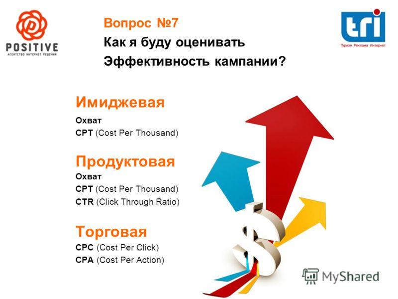 Вопрос 7 Как я буду оценивать Эффективность кампании? Имиджевая Продуктовая Торговая CPC (Cost Per Click) CPA (Cost Per Action) Охват CPT (Cost Per Thousand) Охват CPT (Cost Per Thousand) CTR (Click Through Ratio)