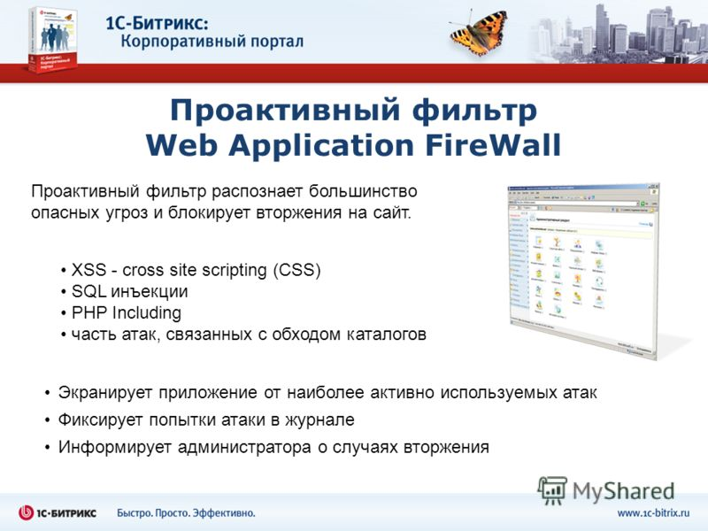 Проактивный фильтр Web Application FireWall XSS - cross site scripting (СSS) SQL инъекции PHP Including часть атак, связанных с обходом каталогов Экранирует приложение от наиболее активно используемых атак Фиксирует попытки атаки в журнале Информируе