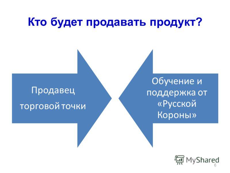Кто будет продавать продукт? Продавец торговой точки Обучение и поддержка от «Русской Короны» 6