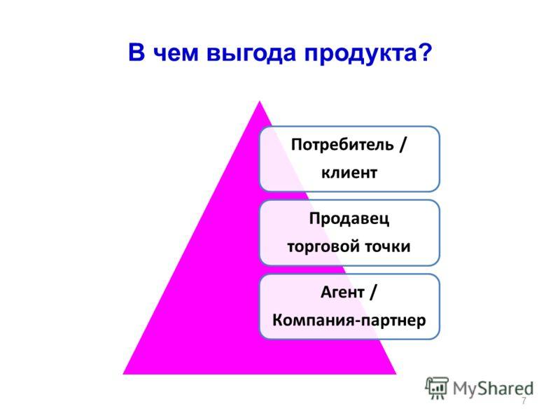 В чем выгода продукта? Потребитель / клиент Продавец торговой точки Агент / Компания-партнер 7