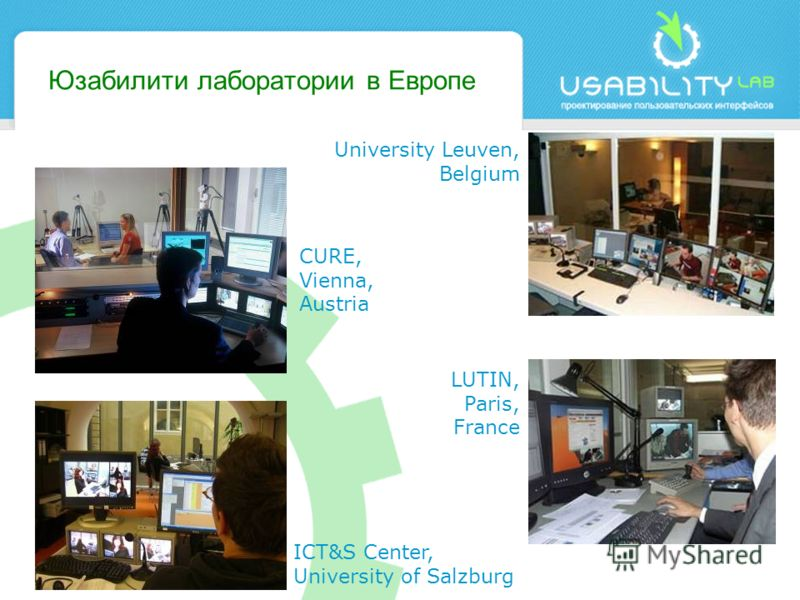 Юзабилити лаборатории в Европе CURE, Vienna, Austria University Leuven, Belgium LUTIN, Paris, France ICT&S Center, University of Salzburg