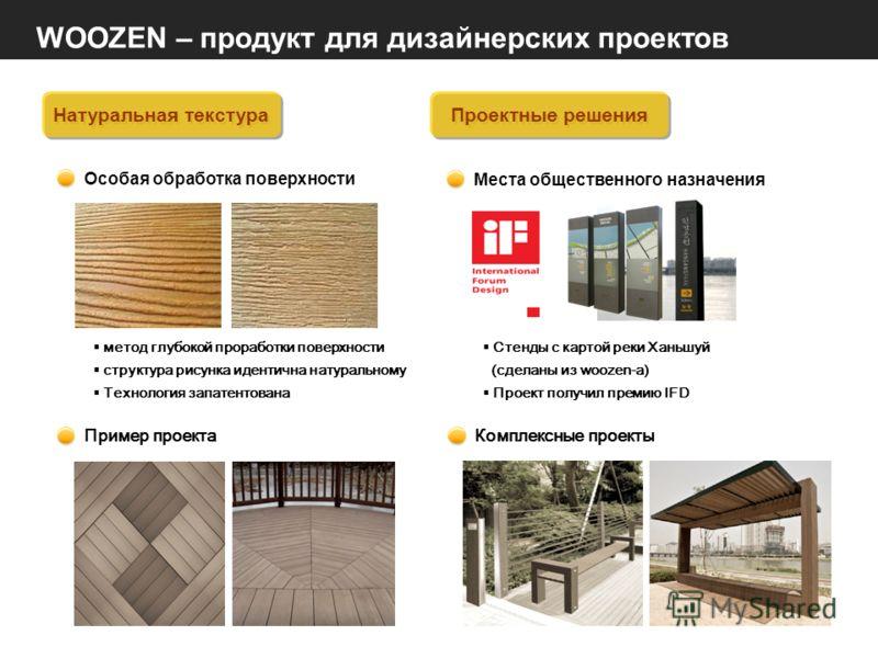 WOOZEN – продукт для дизайнерских проектов Натуральная текстура Особая обработка поверхности метод глубокой проработки поверхности структура рисунка идентична натуральному Технология запатентована Пример проекта Проектные решения Места общественного