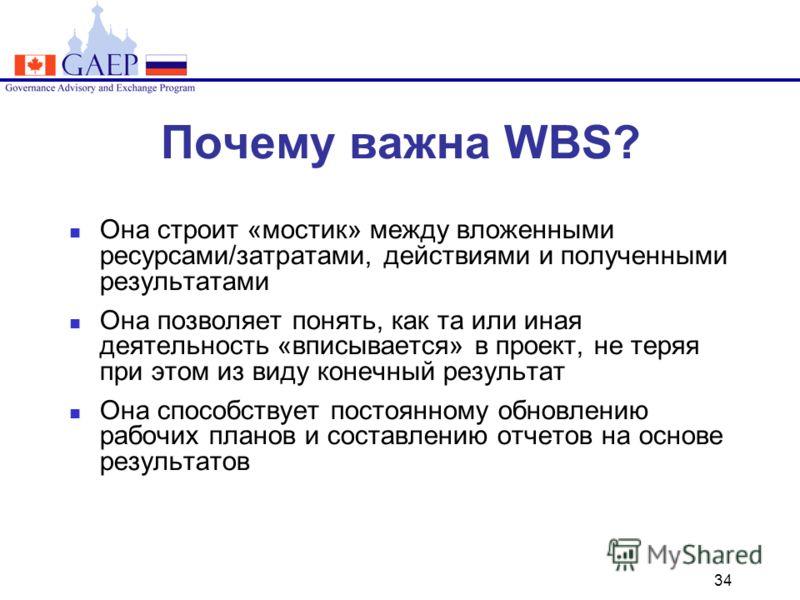 34 Почему важна WBS? Она строит «мостик» между вложенными ресурсами/затратами, действиями и полученными результатами Она позволяет понять, как та или иная деятельность «вписывается» в проект, не теряя при этом из виду конечный результат Она способств