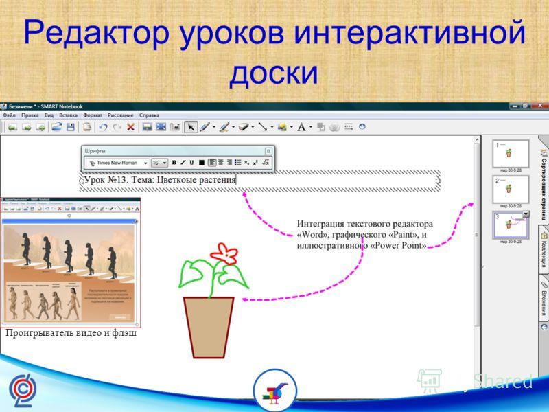 Редактор уроков интерактивной доски Проигрыватель видео и флэш