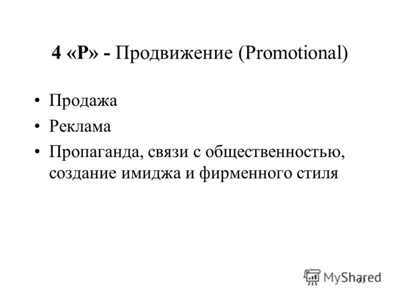 33 4 «P» - Продвижение (Promotional) Продажа Реклама Пропаганда, cвязи с общественностью, создание имиджа и фирменного стиля
