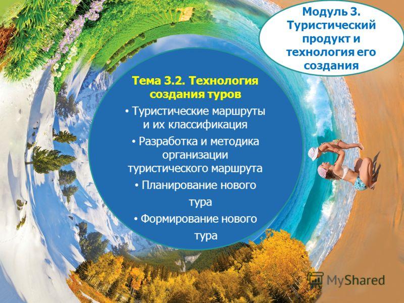 Тема 3.2. Технология создания туров Туристические маршруты и их классификация Разработка и методика организации туристического маршрута Планирование нового тура Формирование нового тура Модуль 3. Туристический продукт и технология его создания