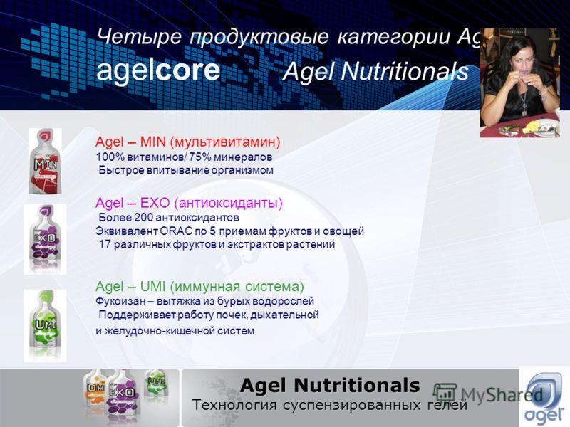 Четыре продуктовые категории Agel: agelcore Agel Nutritionals Agel Nutritionals Технология суспензированных гелей Agel – MIN (мультивитамин) 100% витаминов/ 75% минералов Быстрое впитывание организмом Agel – EXO (антиоксиданты) Более 200 антиоксидант
