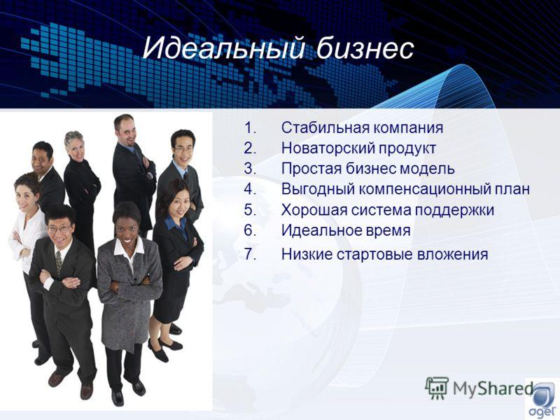 Идеальный бизнес 1.Стабильная компания 2.Новаторский продукт 3.Простая бизнес модель 4.Выгодный компенсационный план 5.Хорошая система поддержки 6.Идеальное время 7.Низкие стартовые вложения