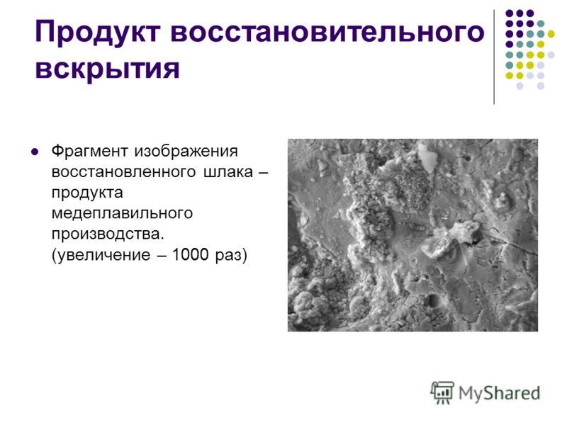 Продукт восстановительного вскрытия Фрагмент изображения восстановленного шлака – продукта медеплавильного производства. (увеличение – 1000 раз)