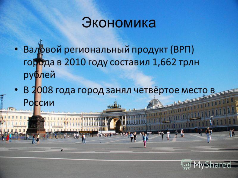 Экономика Валовой региональный продукт (ВРП) города в 2010 году составил 1,662 трлн рублей B 2008 года город занял четвёртое место в России