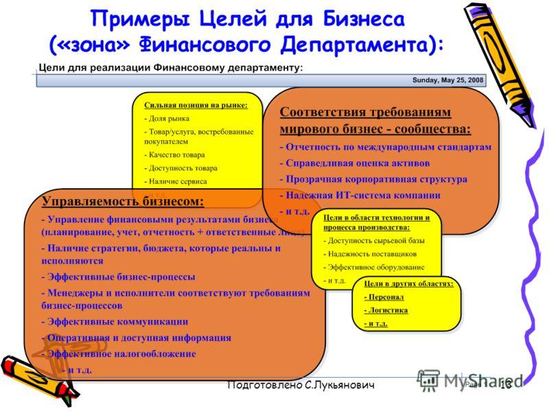 Подготовлено С.Лукьянович13 Примеры Целей для Бизнеса («зона» Финансового Департамента):