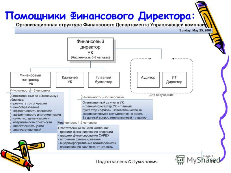 Подготовлено С.Лукьянович14 Помощники Финансового Директора: