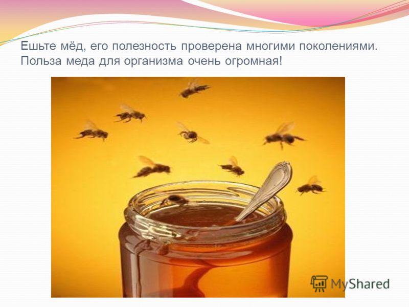 Ешьте мёд, его полезность проверена многими поколениями. Польза меда для организма очень огромная!