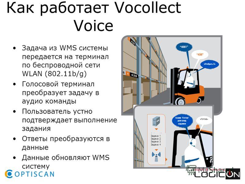Как работает Vocollect Voice Задача из WMS системы передается на терминал по беспроводной сети WLAN (802.11b/g) Голосовой терминал преобразует задачу в аудио команды Пользователь устно подтверждает выполнение задания Ответы преобразуются в данные Дан