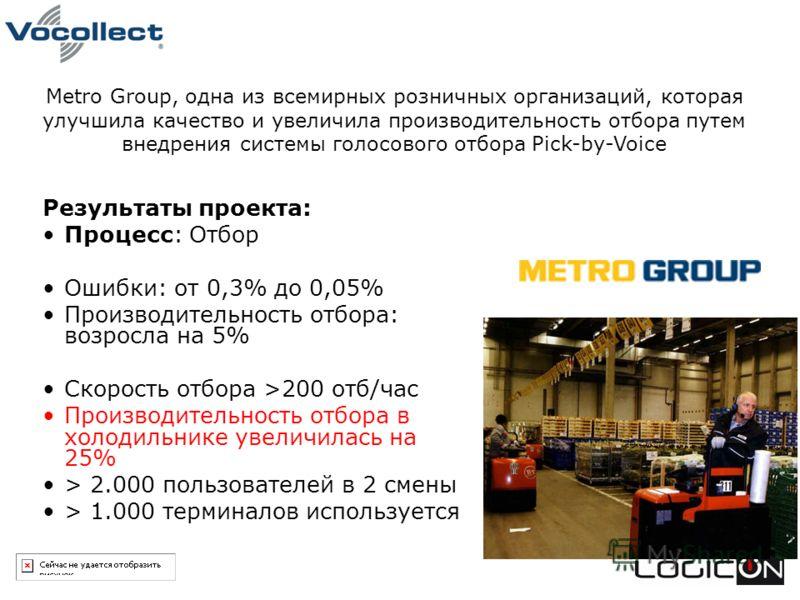 Результаты проекта: Процесс: Отбор Ошибки: от 0,3% до 0,05% Производительность отбора: возросла на 5% Скорость отбора >200 отб/час Производительность отбора в холодильнике увеличилась на 25% > 2.000 пользователей в 2 смены > 1.000 терминалов использу