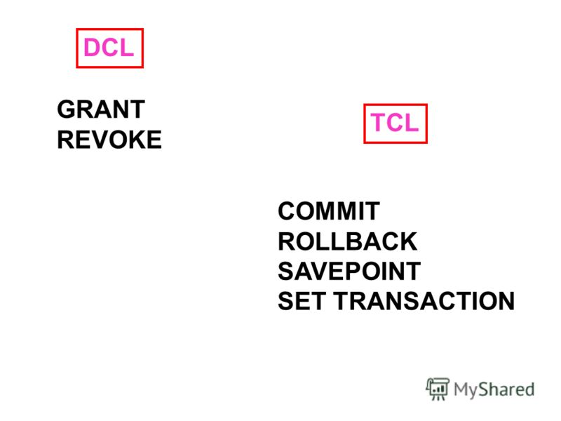 DCL GRANT REVOKE TCL COMMIT ROLLBACK SAVEPOINT SET TRANSACTION