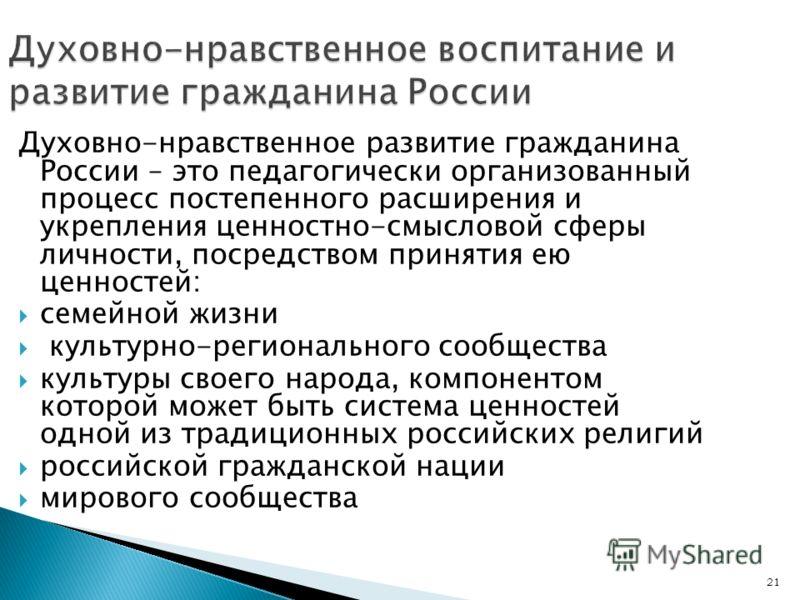 21 Духовно-нравственное воспитание и развитие гражданина России Духовно-нравственное развитие гражданина России – это педагогически организованный процесс постепенного расширения и укрепления ценностно-смысловой сферы личности, посредством принятия е