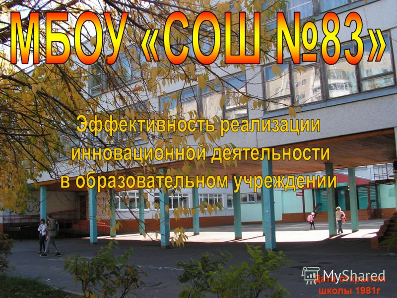 Дата открытия школы 1981г