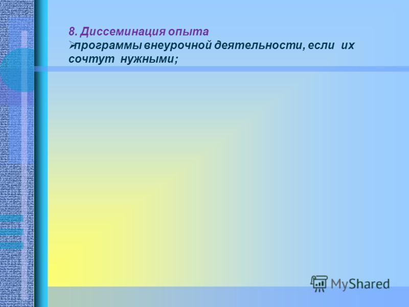 8. Диссеминация опыта программы внеурочной деятельности, если их сочтут нужными;
