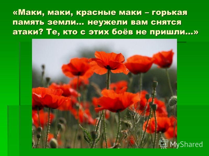 «Маки, маки, красные маки – горькая память земли… неужели вам снятся атаки? Те, кто с этих боёв не пришли…»
