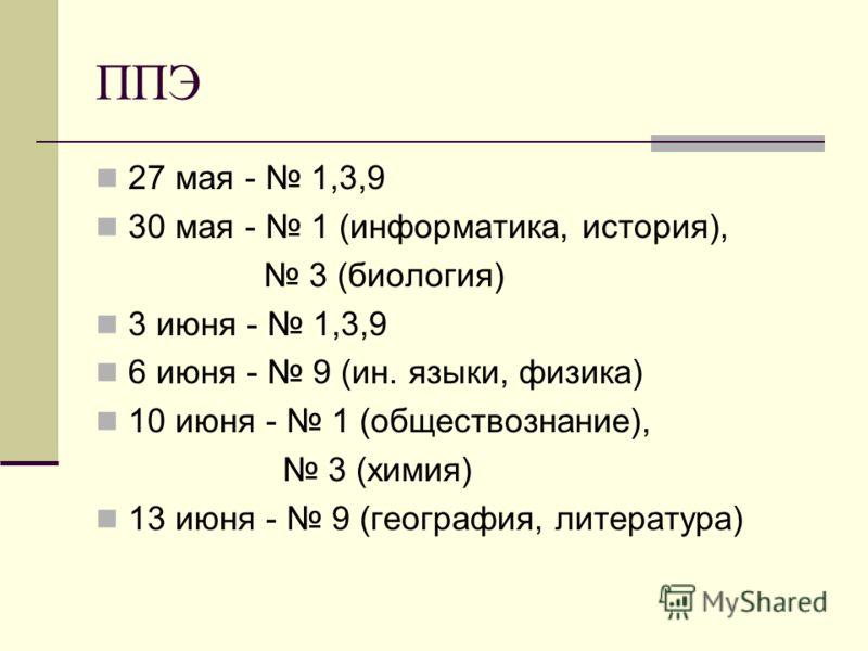ППЭ 27 мая - 1,3,9 30 мая - 1 (информатика, история), 3 (биология) 3 июня - 1,3,9 6 июня - 9 (ин. языки, физика) 10 июня - 1 (обществознание), 3 (химия) 13 июня - 9 (география, литература)