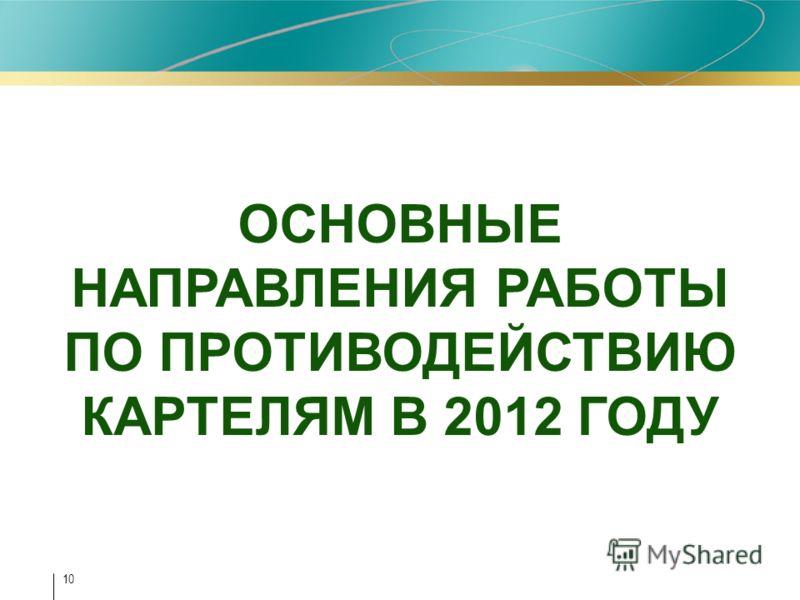 10 ОСНОВНЫЕ НАПРАВЛЕНИЯ РАБОТЫ ПО ПРОТИВОДЕЙСТВИЮ КАРТЕЛЯМ В 2012 ГОДУ