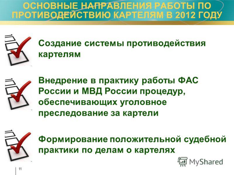 11 Создание системы противодействия картелям Внедрение в практику работы ФАС России и МВД России процедур, обеспечивающих уголовное преследование за к