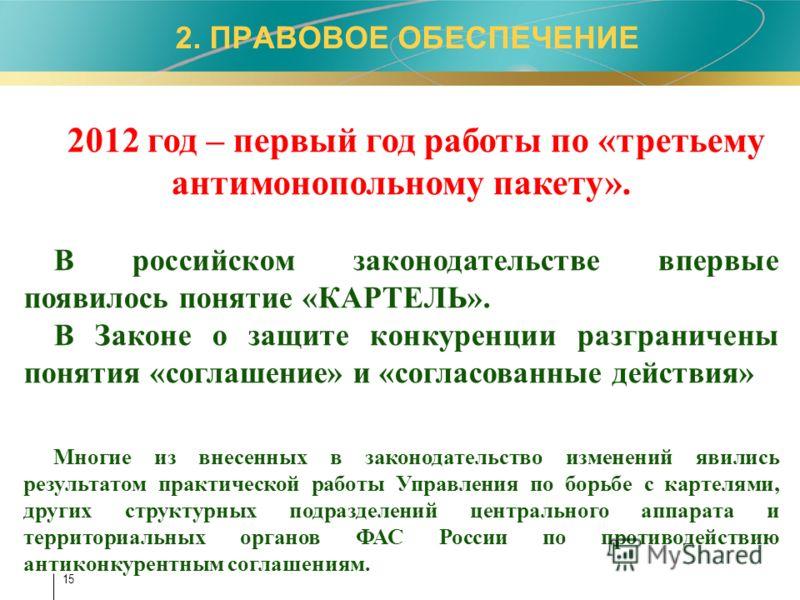 2. ПРАВОВОЕ ОБЕСПЕЧЕНИЕ 2012 год – первый год работы по «третьему антимонопольному пакету». В российском законодательстве впервые появилось понятие «К